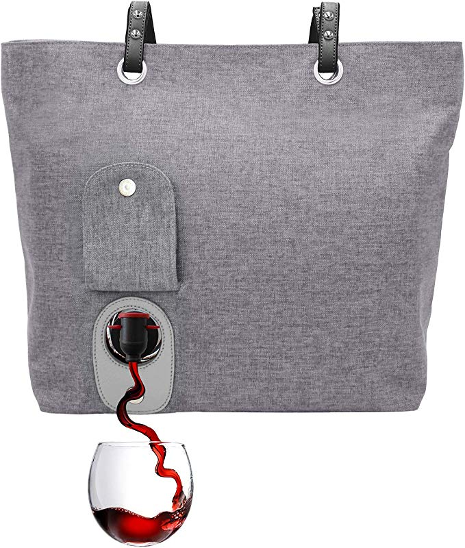 PortoVino City Wine Tote Ash Fashionable Wine Purse With Hidden Insulated Compartment Holds 2 Bottles Wine