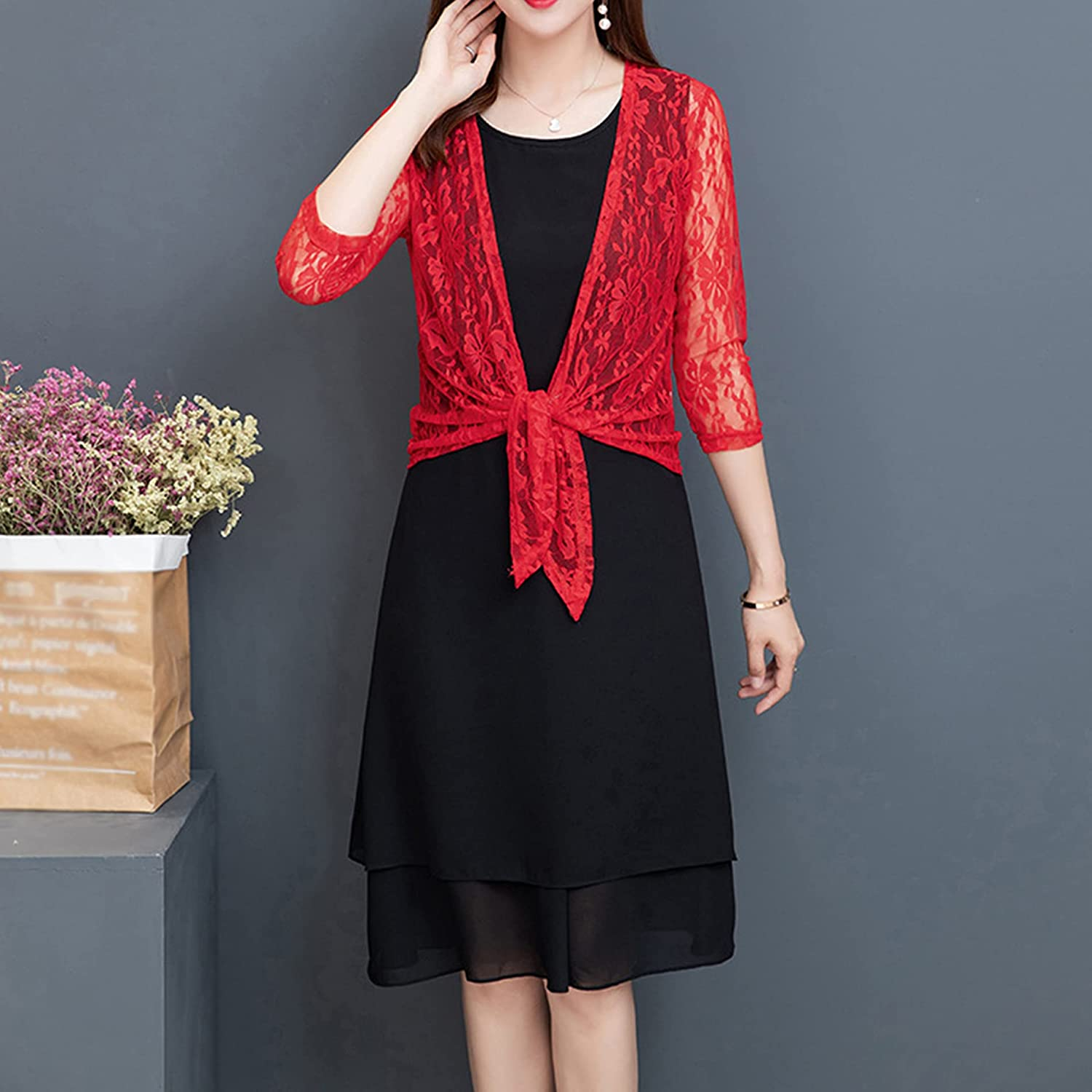 Songling Women's Lace Crochet Cardigans 3/4 Sleeves Tie Front Sheer Cover Up Shrugs Kimono Top