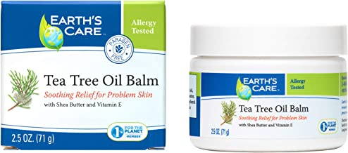 Earth's Care Tea Tree Oil Balm, No Parabens, Colors or Fragrances, Allergy-Tested 2.5 OZ.