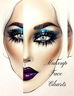 Makeup face charts: The Essential Blank Notebook Paper Practice Face Chart For Professional Makeup Artists.