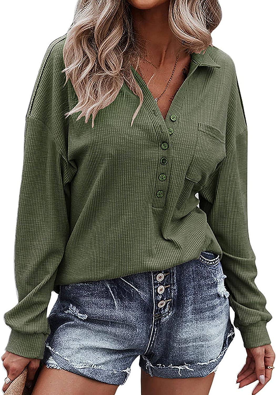 Meichang Long Sleeve Knitted Shirts for Neck Button Finally resale Finally resale start start V Blou Women