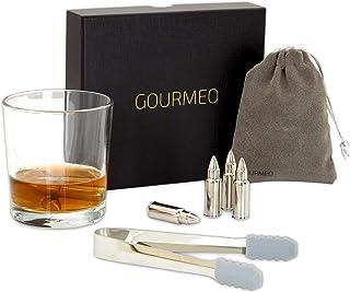 GOURMEO Whisky Steine 6 Stück aus Edelstahl in Patronenform I wiederverwendbare Eiswürfel, Whiskysteine, Whisky Stones, Kühlsteine