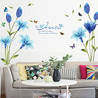 WMdecal Removable Large Lily Flower Wall Vinyl Decals for TV Wall Easy to Apply Peel and Stick Wallpaper Art Stickers for Living Room (Blue)