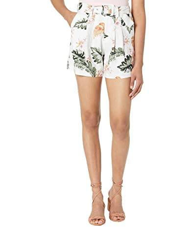 Blank NYC Floral Long Linen Shorts in Garden Party