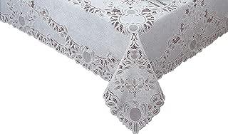 Newbridge Crochet Lace Vinyl Tablecloth 72-Inch Round, White