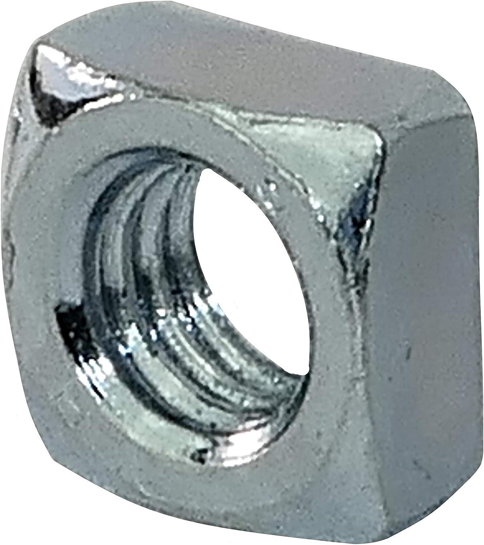 C45449 Para Llave de 8mm Bricolaje Acero galvanizado 5.8 Juego de 20 Tuercas Cuadradas Biseladas M5 Color plata DIN 557 Rosca M/étrica Hembra AERZETIX