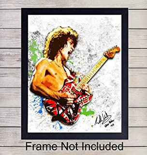 Eddie Van Halen Wall Art Poster - 8x10 Home Decor Picture Print for Living Room, Bedroom, Den, Apartment - Cool Unique Gift for 80's Eighties Music Fan and Musician, Guitar Player - UNFRAMED Photo