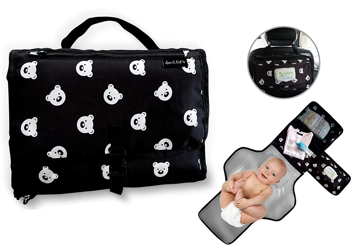 Portable Baby Changing Pad Luxe and Kids - Portable Travel Changing Pad for Baby Diaper Bag and Changing Table Pad - Baby Shower Gifts and Newborn Essentials Unisex Boy and Girl Teddy Bear Design