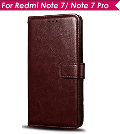 WOW Imagine Leather Finish Case | Inside TPU | Wallet Stand | Shock Proof | Magnetic Closure | 360 Degree Complete Protection Flip Cover for Xiaomi Mi Redmi Note 7 / 7S / Note 7 Pro - Chesnut Brown