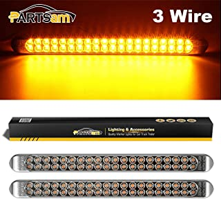 Partsam 2Pcs 17 Inch Amber Led Truck Trailer Light Bar 40 LED Clear Lens Dual Row, Clear Yellow 17