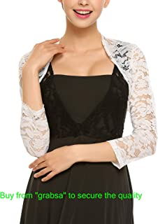 Grabsa Women's 3 4 Sleeve Lace Shrugs Bolero Cardigan Crochet Sheer Crop Jacket
