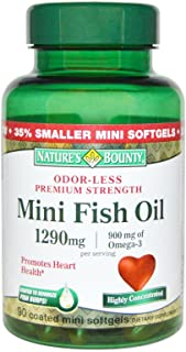 Nature's Bounty Fish Oil 1290 mg Mini Softgels - 90 ct, Pack of 5