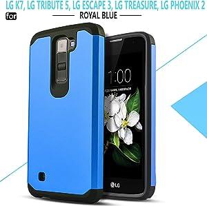LG K7 Phone Case, LG Tribute 5 Case, LG Escape 3 Case, LG Treasure Case, LG Phoenix 2 Case, Starshop [Shock Absorption] Hybrid Dual Layers Rugged Impact Advanced Armor Soft Silicone Cover [Blue