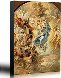wall26 - Oil Painting of The Virgin as The Woman of The Apocalypse by Peter Paul Rubens in 1624 - Baroque Style-Angels Catholic - Canvas Art Home Decor - 16x24 inches