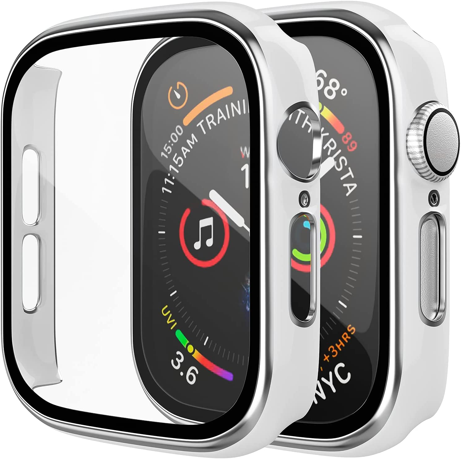 [2 Pack] D & K Exclusives Compatible with Apple Watch 42mm Case, Full Coverage Bumper Protective Case with Tempered Glass Screen Protector for Men Women iWatch Series 3/2/1, Silver, White