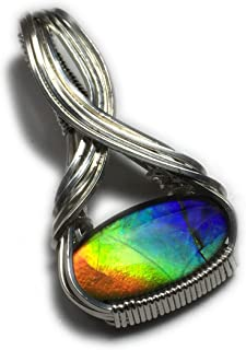 Rocks2Rings Ammolite Pendant Sterling Silver - Rainbow Jewelry for Women, Black Leather Necklace Upgraded Elegant Gift Box S763 ZP