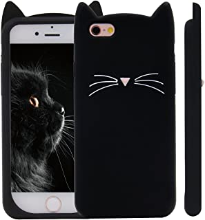 Unique iPhone 7 Case, Cute 3D Creative Soft Feeling Silicone Phone Case Cover for Apple iPhone 7 Black Meow Cat