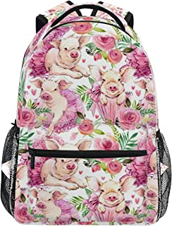 Linomo Cute Pig Piggy Pink Rose Backpack Daypack Camping Hiking Travel Bookbag School Shoulder Bag for Kids Boy Girl