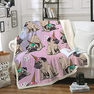 Sleepwish Puppy Pug Fuzzy Reversible Blanket Cute Unicorn Pink Sherpa Fleece Blanket Kids Ice Cream Cap Warm and Plush Throw Blanket for Bed Sofa Travel Couch Throw (50