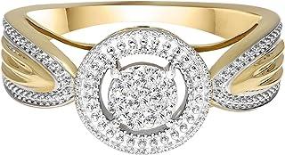 Lab نمت الماس خواتم الخطوبة للنساء 5/8 قيراط تمهيد الماس الدائري مختبر إنشاء خواتم الماس SI-GH 10K الماس خواتم الفرقة للنساء