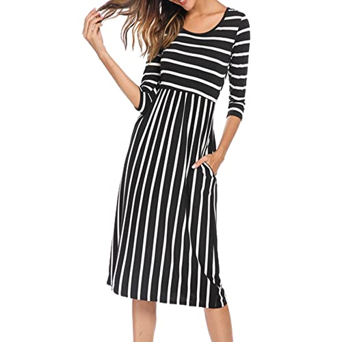 8e0fe480ff6 Halife Women s 3 4 Sleeve Stripe Elastic Waist Casual Dress with Pocket
