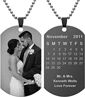 Personalized Custom Engraved Special Date/Photo/Text Dog Tag Necklace Customize Picture Necklace for Lover Couples