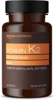 Amazon Elements Vitamin K2 100 mcg, Vegan, 65 Capsules, 2 month supply (Packaging may vary)