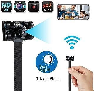 Cámara espía WiFi oculta inalámbrica portátil – 4K HD DIY Videocámara 2500 mAh Cámara de seguridad para el hogar con visión nocturna/detección de movimiento aplicación compatible con iOS/Android/PC