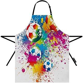 Moslion Football Apron 31x27 Inch Sports Passion Rainbow Color Soccer Balls Doodle Blot Polka Dot Kitchen Chef Waitress Co...