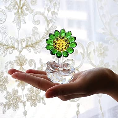 Crystal Sunflower Figurine Ornament Paperweight Home Decor
