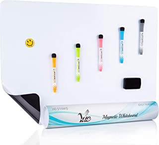 Extra Large Magnetic Dry Erase Whiteboard Sheet for Fridge with NewStain Resistant Technology - 25x17 inches