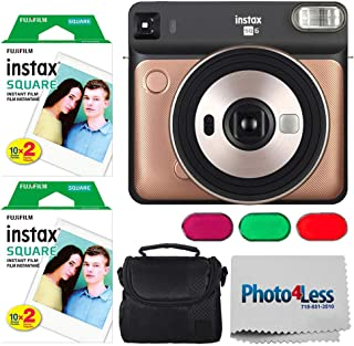 Fujifilm instax Square SQ6 Instant Film Camera (Blush Gold) + Fujifilm instax Square Instant Film (40 Exposures) + Small Digital Camera/Video Case (Black) + Photo4Less Camera and Lens Cleaning Cloth