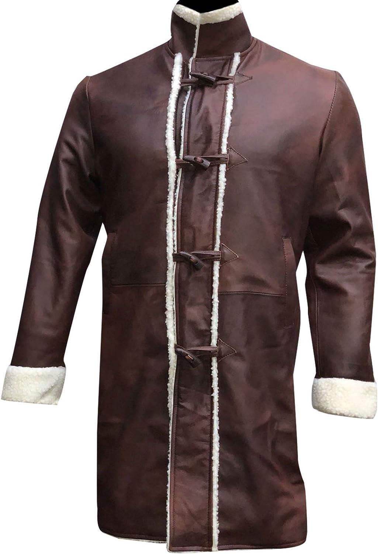 King Legend Brown Sword Charlie Fur Shearling Hunnam Mens Leather Arthur Coat