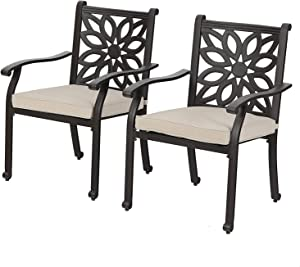 Outdoor Patio Extra Wide Armrest Cast Aluminum Dining Chairs with Cushion Set of 2 - Frosted Surface