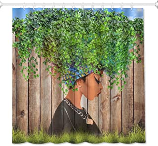 QiyI African American Green Leaves Girl Shower Curtain Art Afro Black Women Watercolor Design Bathroom Accessories Waterproof & Machine Washable with 12 Hooks 72