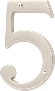 Baldwin Estate 90675.150.CD Solid Brass Traditional House Number Five in Satin Nickel, 4.75