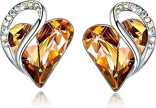 Leafael Infinity Love Heart Stud Earrings with Birthstone Crystal Women's Gifts, Silver-tone