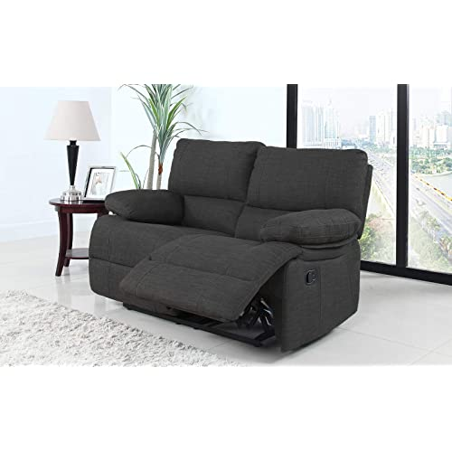 Superbe Divano Roma Furniture Classic And Traditional Dark Grey Fabric Oversize  Recliner Loveseat (2 Seater)