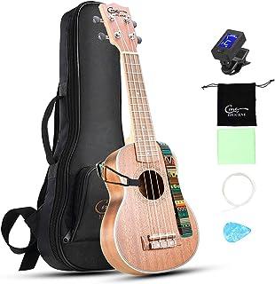 Hricane Ukulele Soprano 21inch Professional Ukeleles For Beginners Sapele Hawaiian Ukele UKS-1 Bundle with Gig Bag