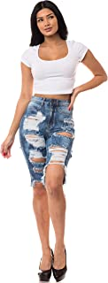 Aphrodite Ripped Bermuda Shorts Jeans - Women's Destroyed Fashion Distress Denim Short Pants