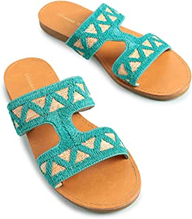 Chumbak Tribal Trails Polyurethance Embroidered Brown Sliders for Women - 38