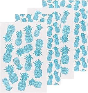 Now Designs Bali Blue Color Center Printed Floursack Dishtowels Set of 4 Kitchen Towel, 4