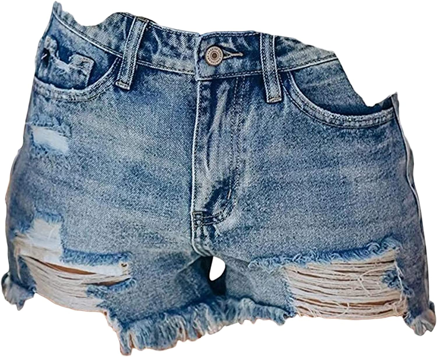 Women's Fringed Denim Shorts Cut Ripped Frayed Hem Jeans Short Distressed Wash Button Summer Casual Hot Short Pant