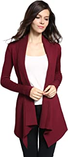 Classic Ribbed Draped Open-Front Cardigan