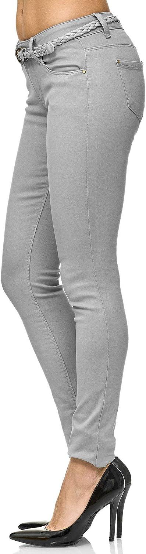 Elara Women's Slim Fit Trousers with Belt Denim Jeans Chunkyrayan Lt.grey