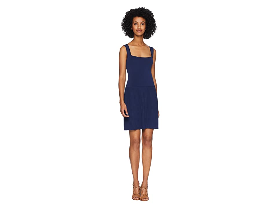 Neil Barrett Square Neckline Plisse Dress (Blue) Women