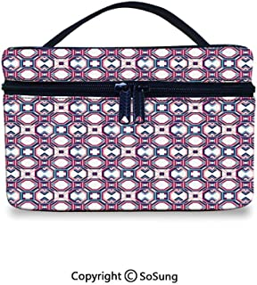 Geometric Cute Cosmetic Bag Hexagonal Diagonal Squares Digital Featured Artistic ModernPortable Artist Storage Bag,9.8×7.1×5.9inch,Magenta Pale Pink Night Blue
