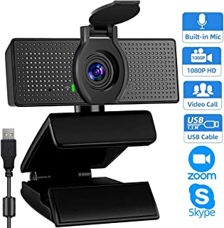 1080P Webcams with Microphone for Desktop & Privacy Cover, Full HD Webcam for Computers PC Laptop, USB Plug and Play, Conference Calling, Study Video Teaching,Work from Home Webcam Skype,Zoom