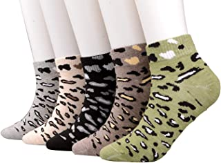 Womens Mens Ladies Value 5-Pair Crew Ankle Cotton Socks Leopard Pattern