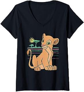 Femme Disney The Lion King Young Nala 90s T-Shirt avec Col en V